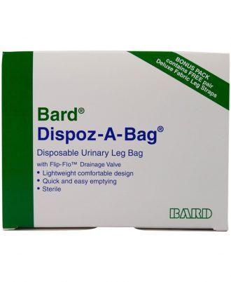 DISPOZ-a-BAG Urinary Leg Bag With Flip-Flo Valve  ( 4 Bag Bonus Pack with One Pair of Fabric Straps)