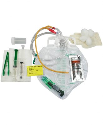 Lubricath Drainage Bag Foley Tray with Center-Entry & Tamper-Evident Seal & Anti-Reflux Device