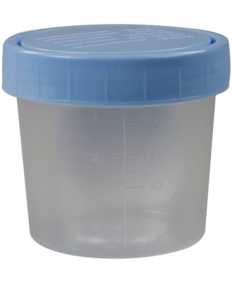 Medline Specimen Collection Container with Blue Patient I.D. Lid